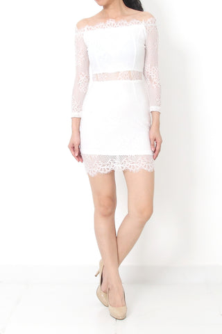 MERCEL Off Shoulder Lace Dress White