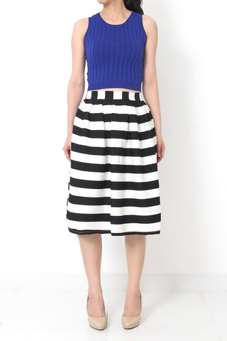 RES Striped Midi Skirt Black