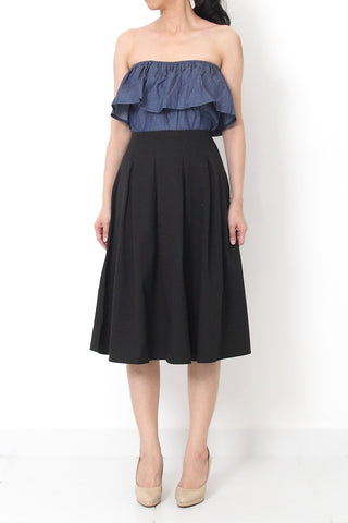 JACQUES A-Line Pleated Skirt Black - M