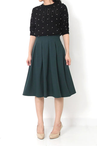 JACQUES A-Line Pleated Skirt Green - S