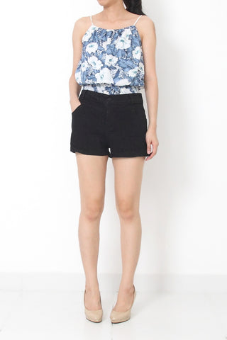 MILLY Floral Print Top Blue - S M