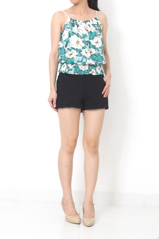MILLY Floral Print Top Green - S