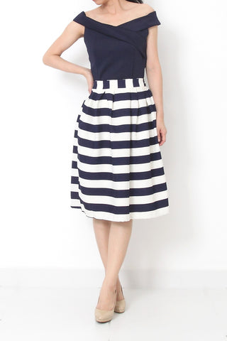 RES Striped Midi Skirt Blue