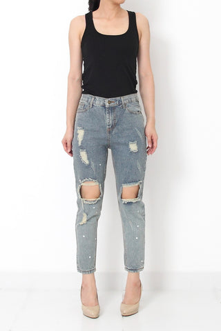 AWESOME Baggies Ripped Denim Jeans - M