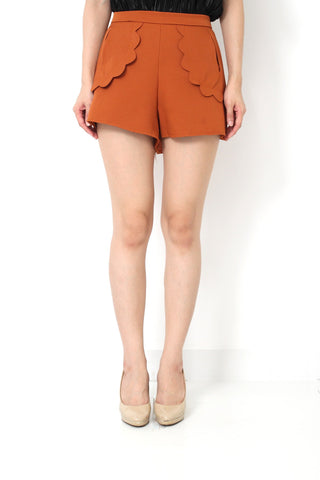 ELIZE Hight Waist Scalloped Pants Camel Brown