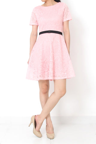 ISMAY Cap Sleeve Dress Baby Pink - M L XL
