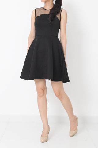 KYLA Fit and Flare Neoprene Cocktail Dress Black - S M