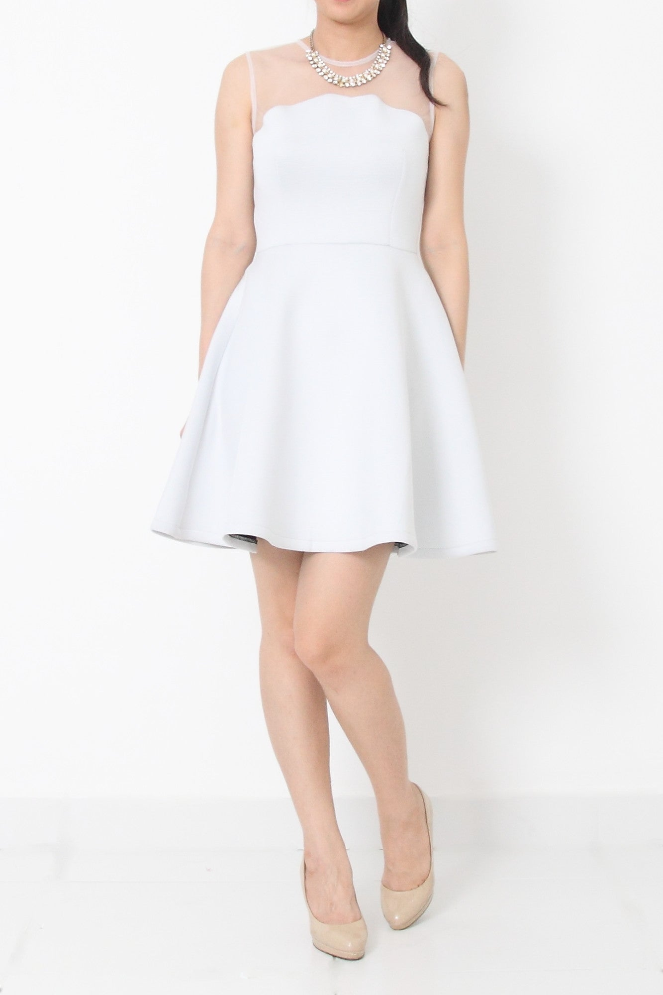 KYLA Fit and Flare Neoprene Cocktail Dress White - L