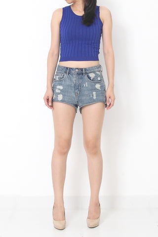 CADICE Knit Crop Top Blue