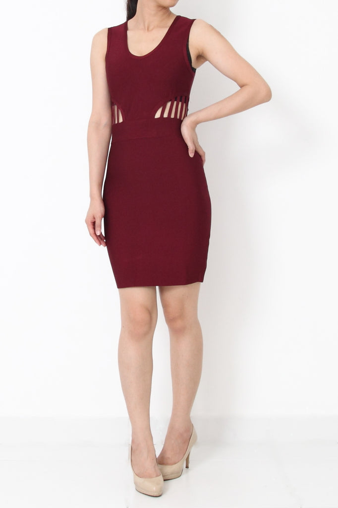 Roxanne Deep-V Bandage Dress Maroon