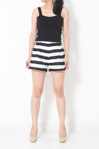 WILLA Pleats Pants Black/White - S