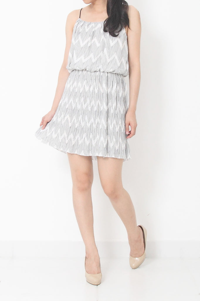 KERRI Bohemian Weave Strap Dress White