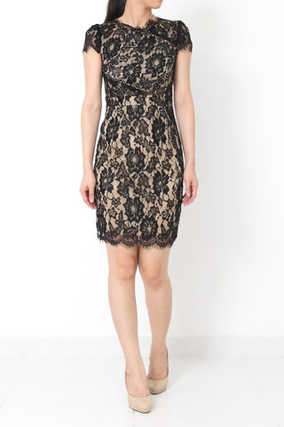 BROWNWYN Lace Dress with Cutout Waist Black - S