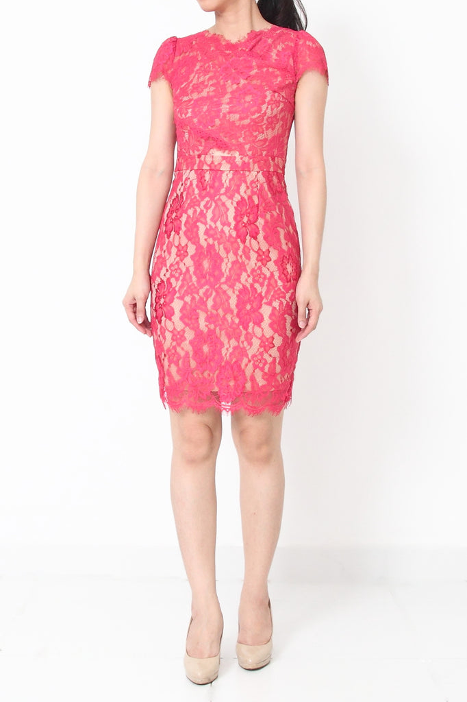 BROWNWYN Lace Dress with Cutout Waist Rose Pink - S