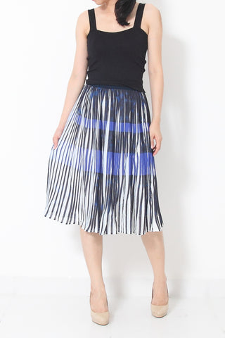 ALIX Pleated Abstract Print Midi/Maxi Dress - S M