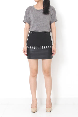 TEVIN Faux Leather Skirt Black - M