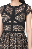 TRU Cap Sleeve Lace Dress Black - S