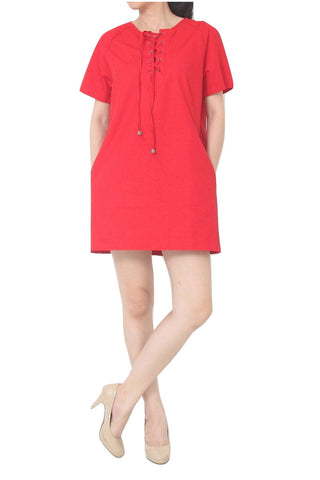 LAURENT A-Line Dress with Pockets Red - S M