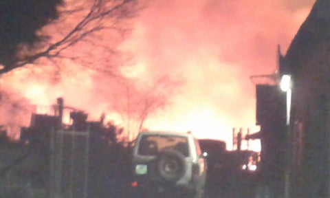 Huge fire with flames of 50 feet and more approaching house and church at Walk in The Light