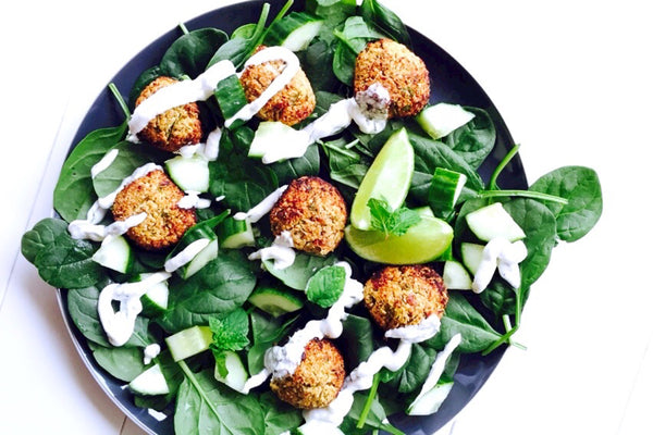 Quinoa and Pecan Falafels with Minted Coconut Yoghurt