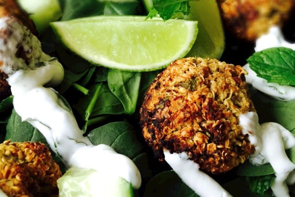 Quinoa and Pecan Falafels with Minted Coconut Yoghurt Dressing Recipe