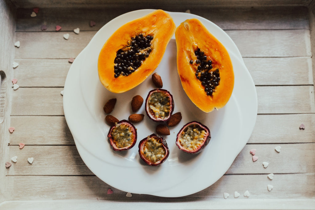 papaya, passionfruit yellow and orange foods