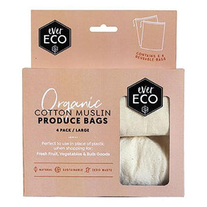 Ever Eco Reusable Produce Bags - Organic Cotton Muslin 4 Pack