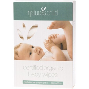 Nature's Child Organic Cotton Cloth Baby Wipes - 8 Pack
