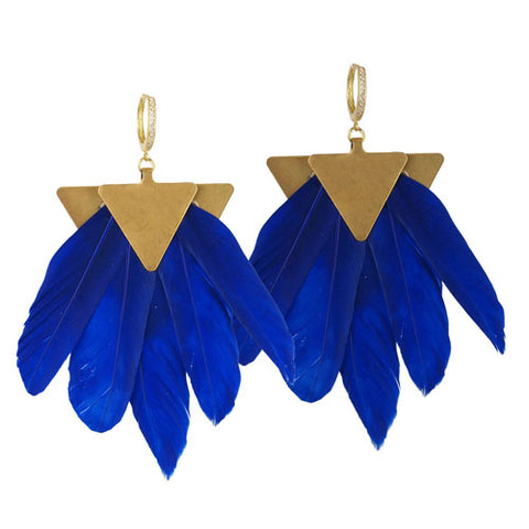 artemis feather earrings blue