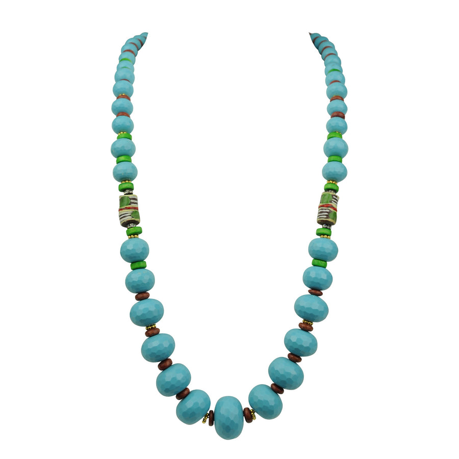 medium height turquoise coral statement necklace with trade beads katerina psoma