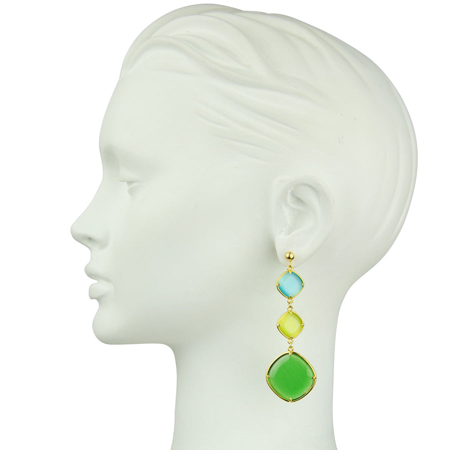 Katerina Psoma Green and Lime Dangle Earrings bust