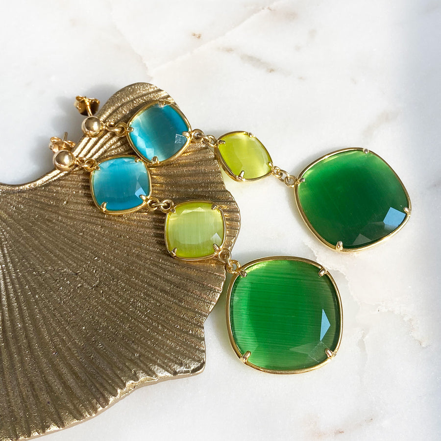 Katerina Psoma Green and Lime Dangle Earrings detail