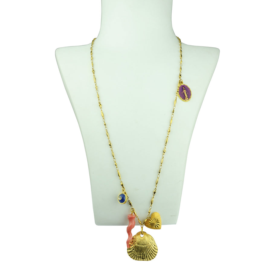 Angelica Chain Necklace With Charms and Metal Shell