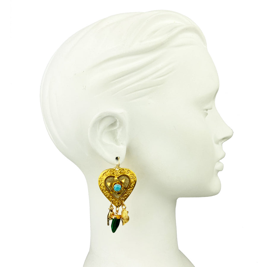 katerina Psoma heart dangle earrings with charms left detail