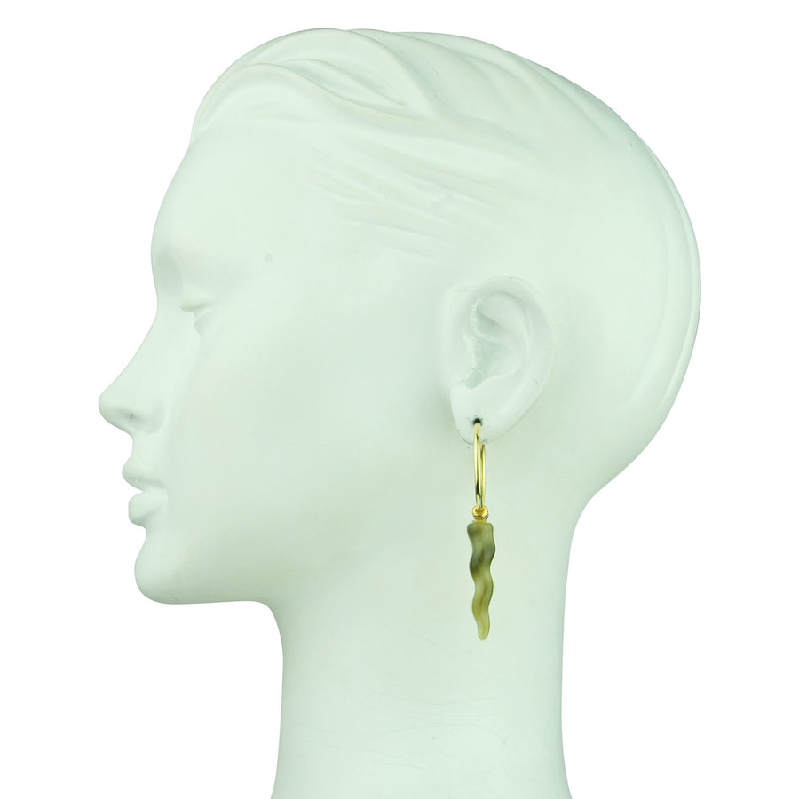 Katerina Psoma gold plated 925 sterling silver hoops with resin ornaments detail