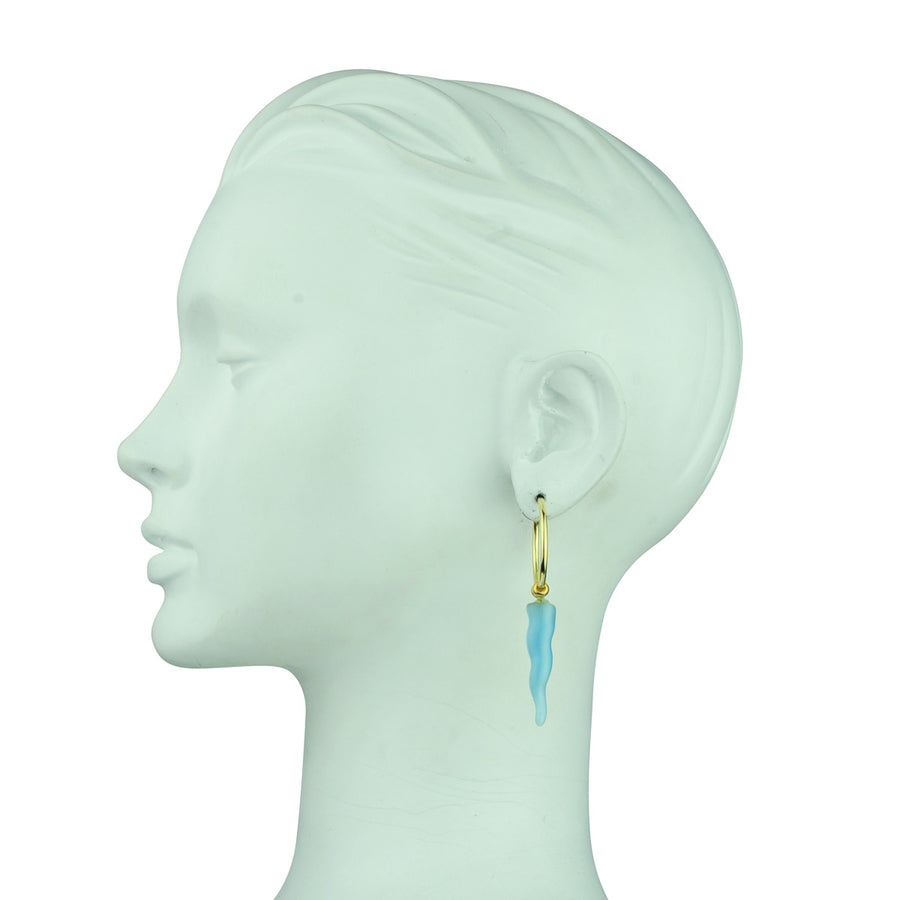 Katerina Psoma gold plated 925 sterling silver hoops with light blue resin ornaments bohemian
