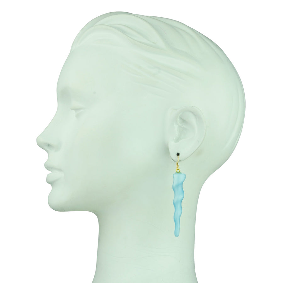 Katerina Psoma gold plated 925 sterling silver hoops with light blue resin ornaments detail