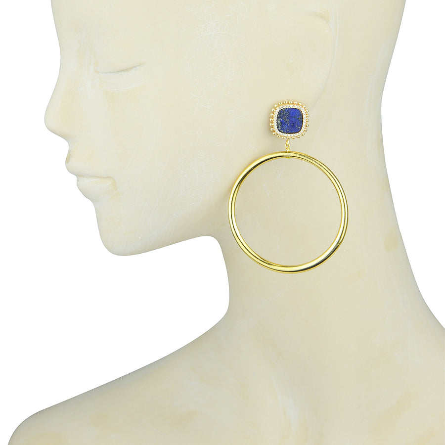 Lapis Lazuli Hoop Earrings gold plated