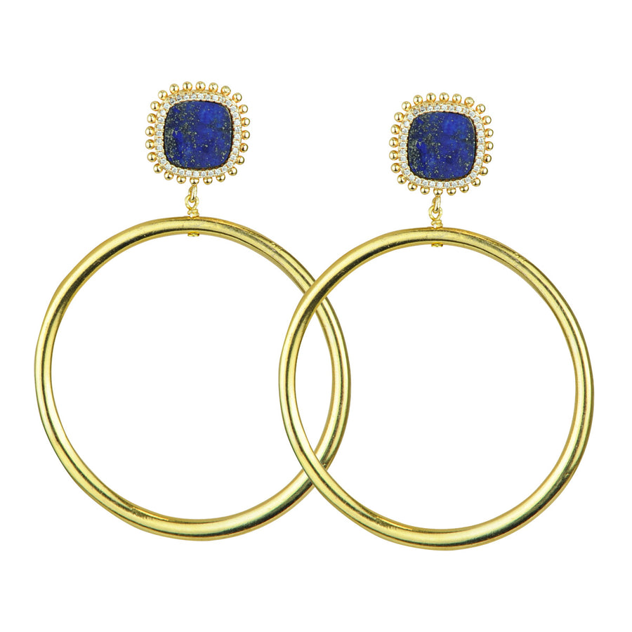 Lapis Lazuli Hoop Earrings costume jewelry