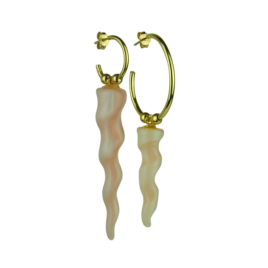 Katerina Psoma Gold plated 925 silver hoops with resin horns