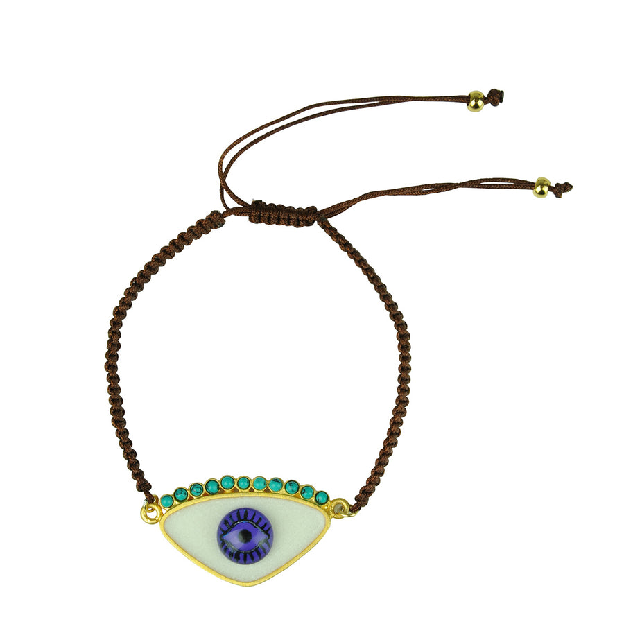 Katerina Psoma Gold Plated 925 Silver and White Enamel Evil Eye Bracelet