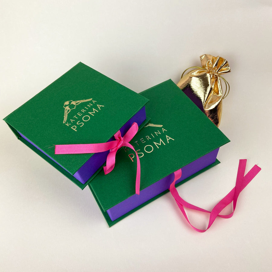 Artemis Fuschia and Gold Feather Metal Earrings katerina psoma packaging