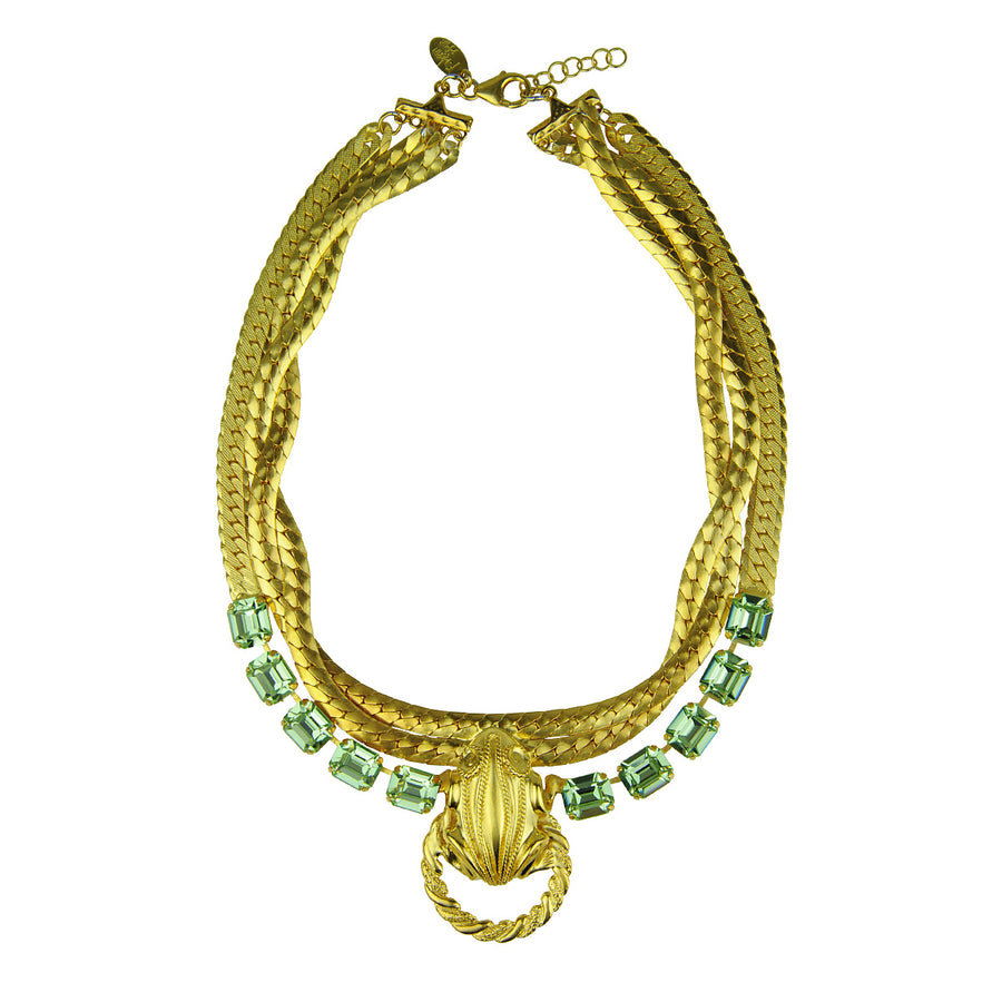 Katerina Psoma Short Chain Necklace with green Crystals