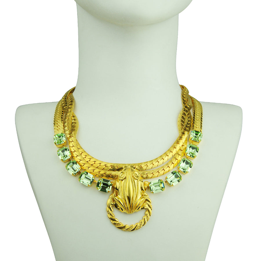 Katerina Psoma gold plated short chain necklace with green swarovski crystals