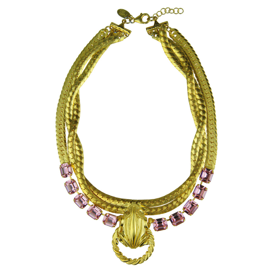 Katerina Psoma Short Chain Necklace with Pink Crystals