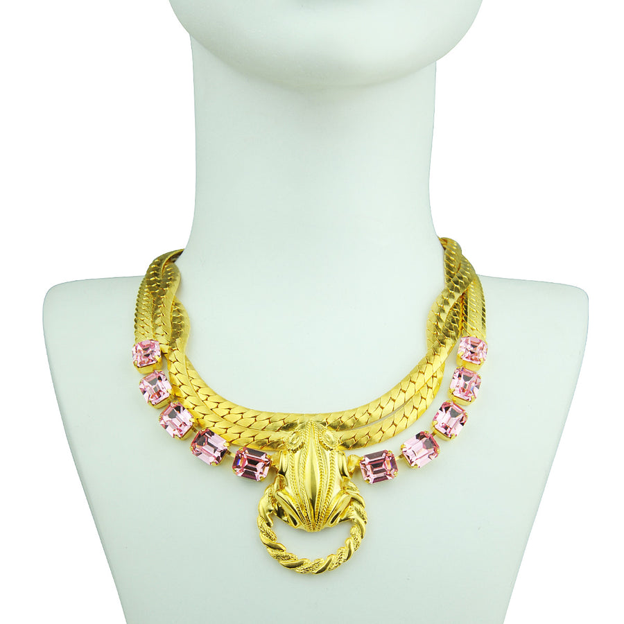 Katerina Psoma Short Gold plated Chain Necklace with Pink Crystals