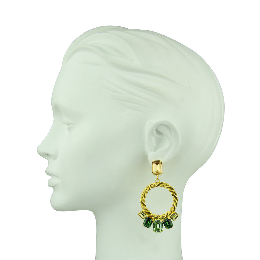 Katerina psoma green  Multicolor Crystal Clip Hoops gold plated