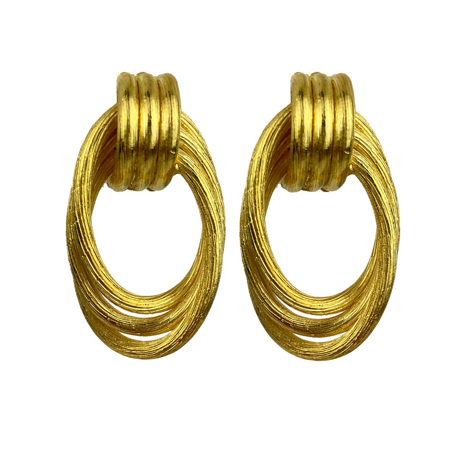 Katerina Psoma Gold plated double hoops BRASS