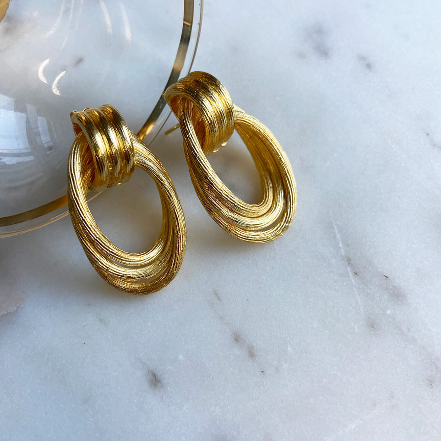 Katerina Psoma Gold plated double hoops