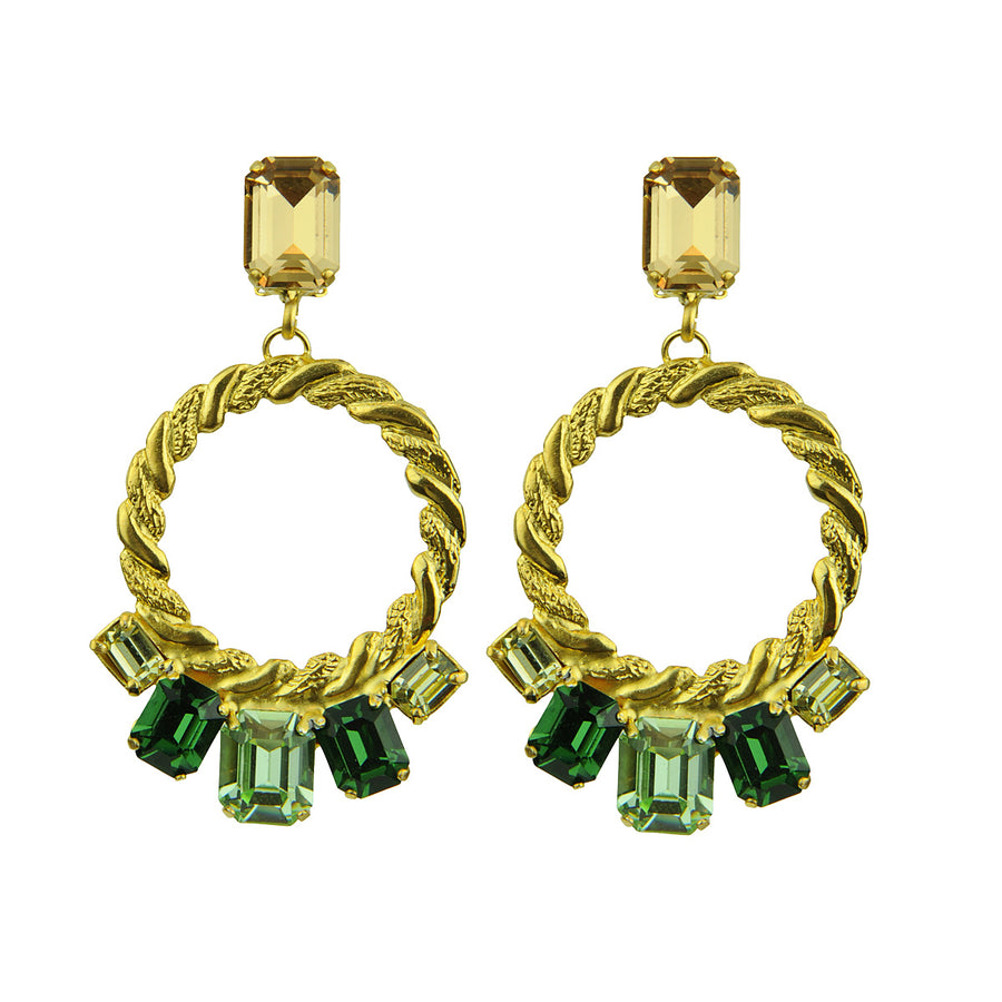 Katerina psoma green  Multicolor Crystal Clip Hoops